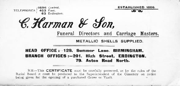 Certificate - C Harman & Son Summer Lane