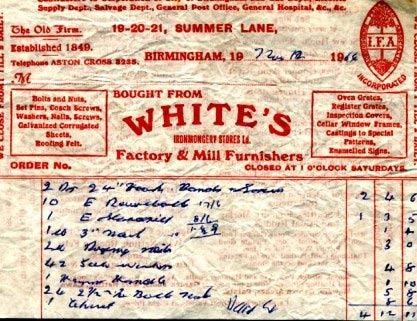 An order from White's Summer Lane